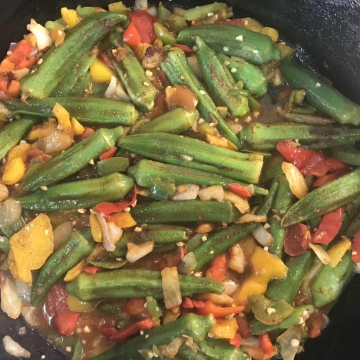 Chipotle Okra with Peppers and Onions