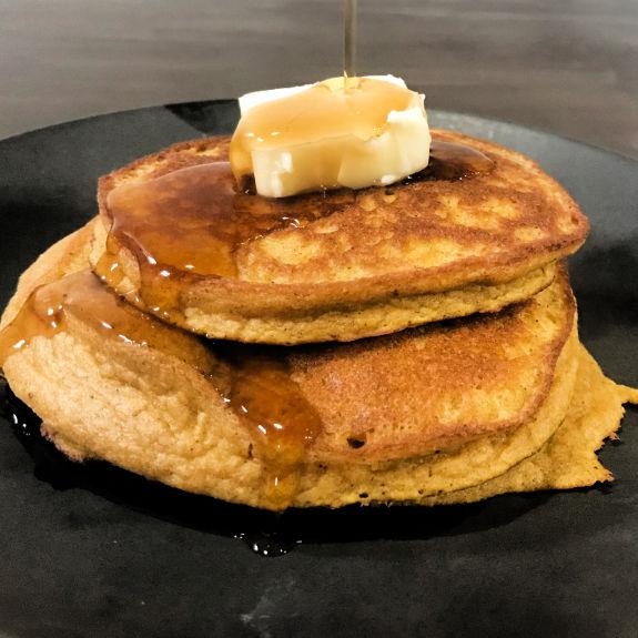 Keto Pumpkin Blender Pancakes plated