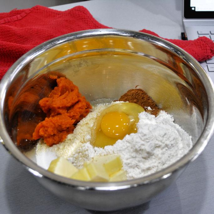 Layered Pumpkin Cheesecake Ingredients In Bowl