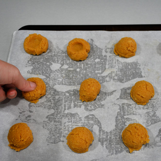 Keto Thumbprint Cookies Scooped Dough