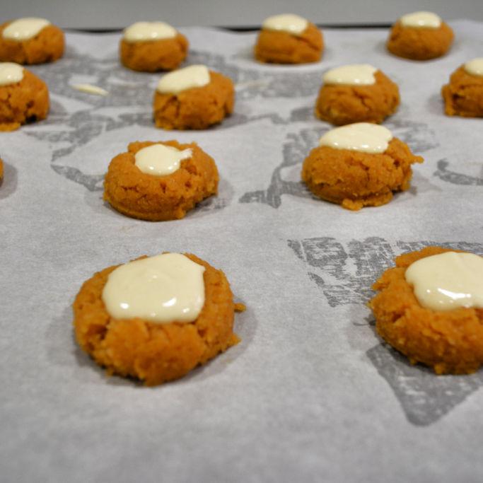 Keto Thumbprint Cookies Cream Cheese Filling