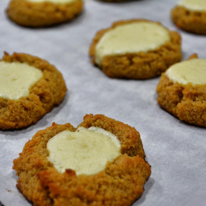 Keto Pumpkin Cheesecake Thumbprint Cookies