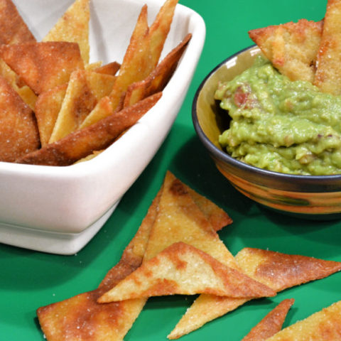 Guacamole with Keto Pita Chips for Dipping