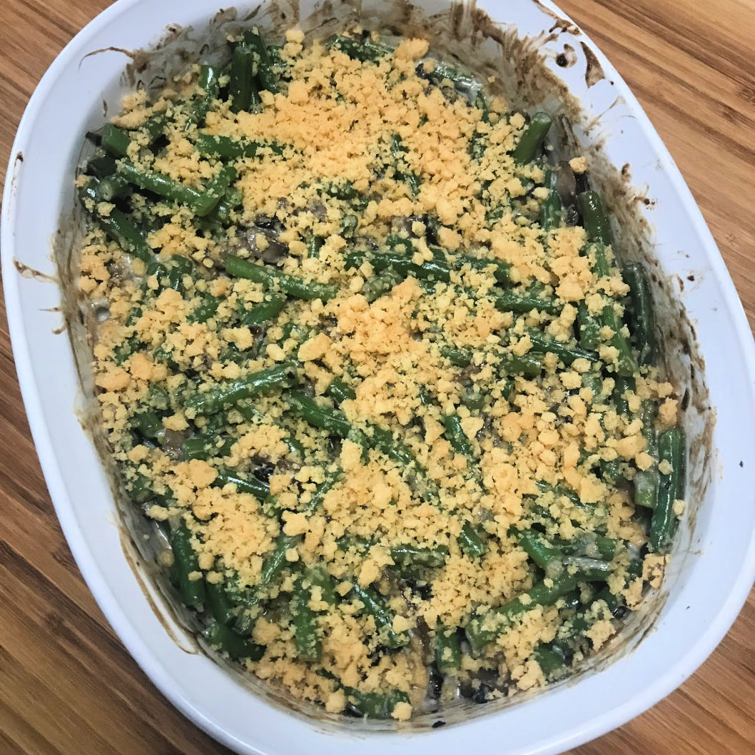 green beans with topping