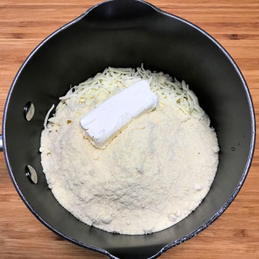 keto pizza dough ingredients saucepan