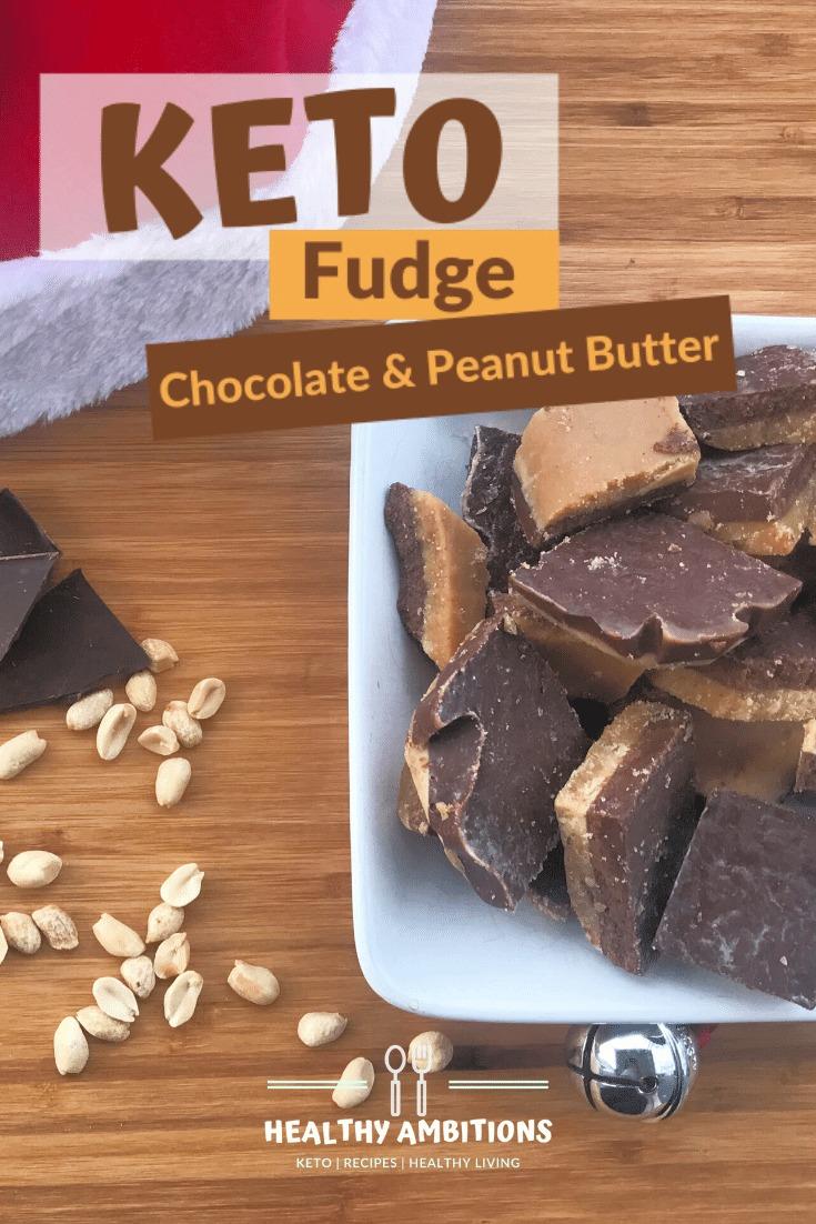 Super Yummy Keto Chocolate Peanut Butter Fudge pin 1