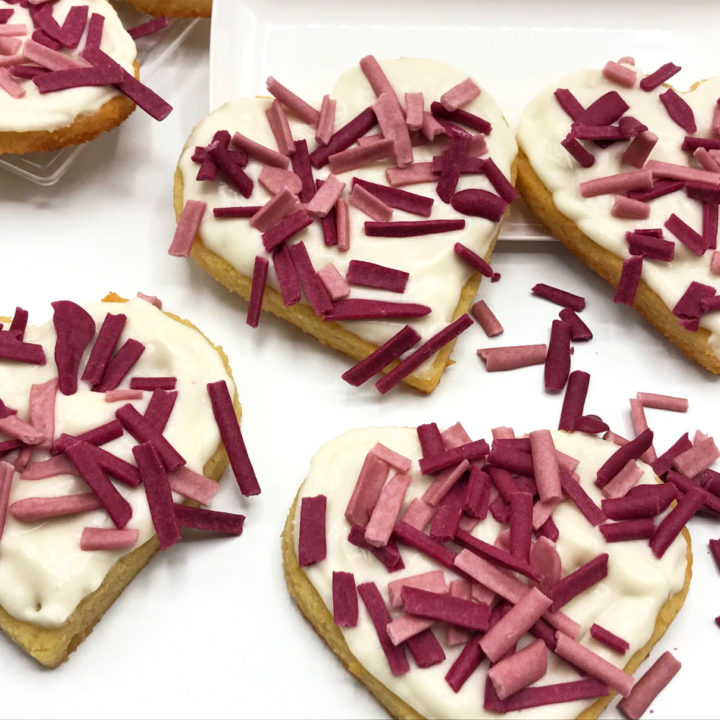 Valentine's Day Keto Heart Sugar Cookies Recipe Card