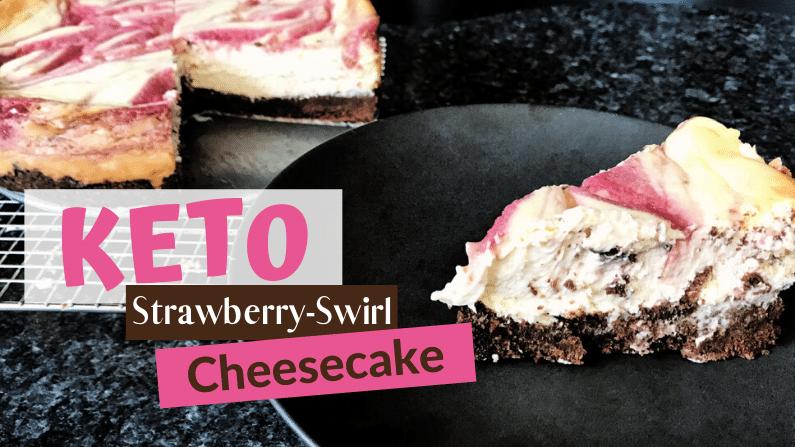 Keto Strawberry Swirl Cheesecake with an Oreo Cookie Crust