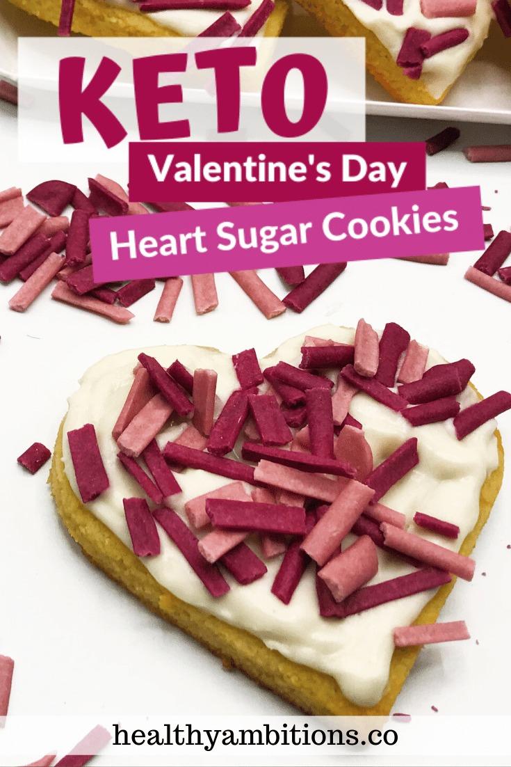 Valentine's Day Keto Heart Sugar Cookies Pin 1