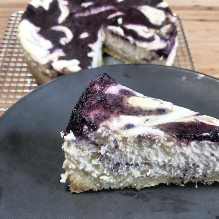 Keto Blueberry Swirl Cheesecake Recipe Card