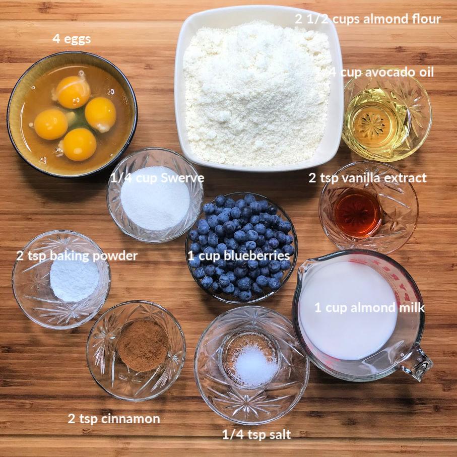 Super Fluffy Keto Blueberry Pancakes ingredients