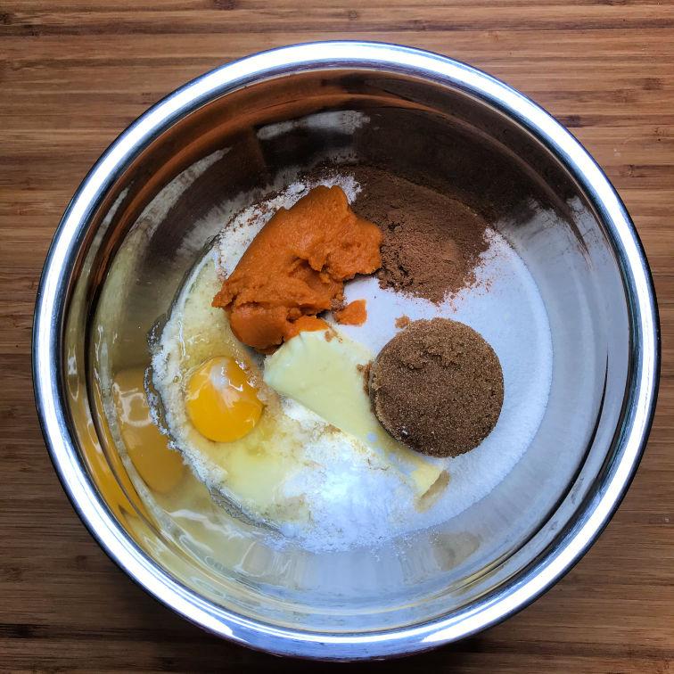 keto pumpkin cookie ingredients in bowl