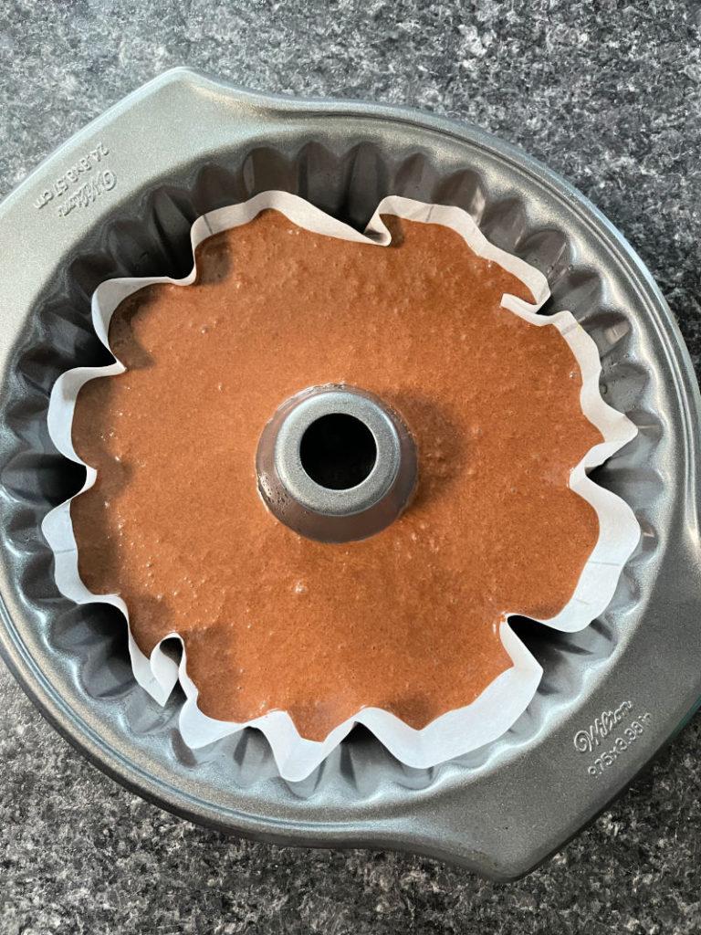 Keto Devil's Food Cake in a bundt pan