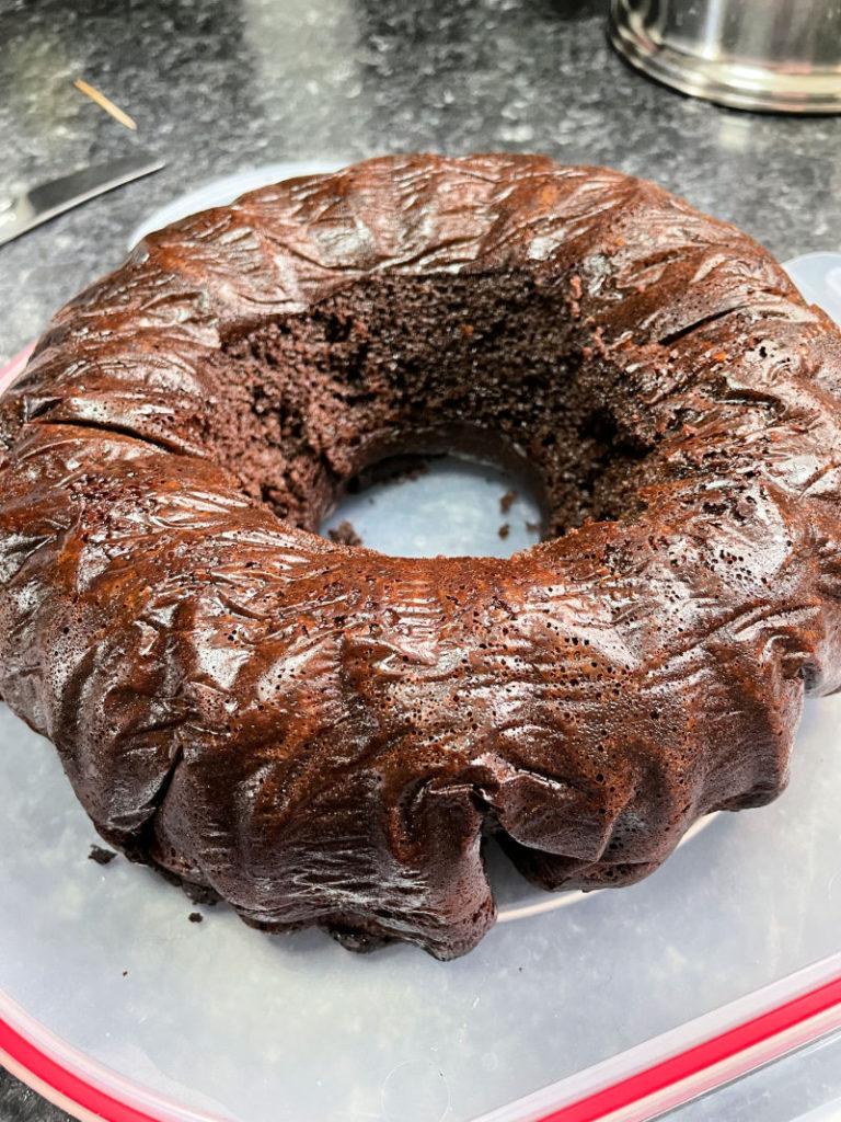 Keto Devil's Food Cake cooling