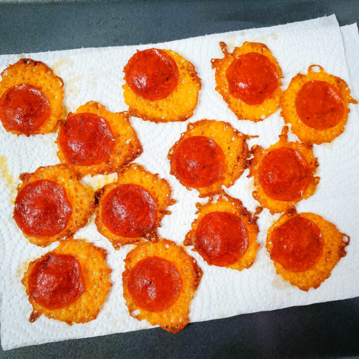 cooled Keto Pepperoni Cheese Chips