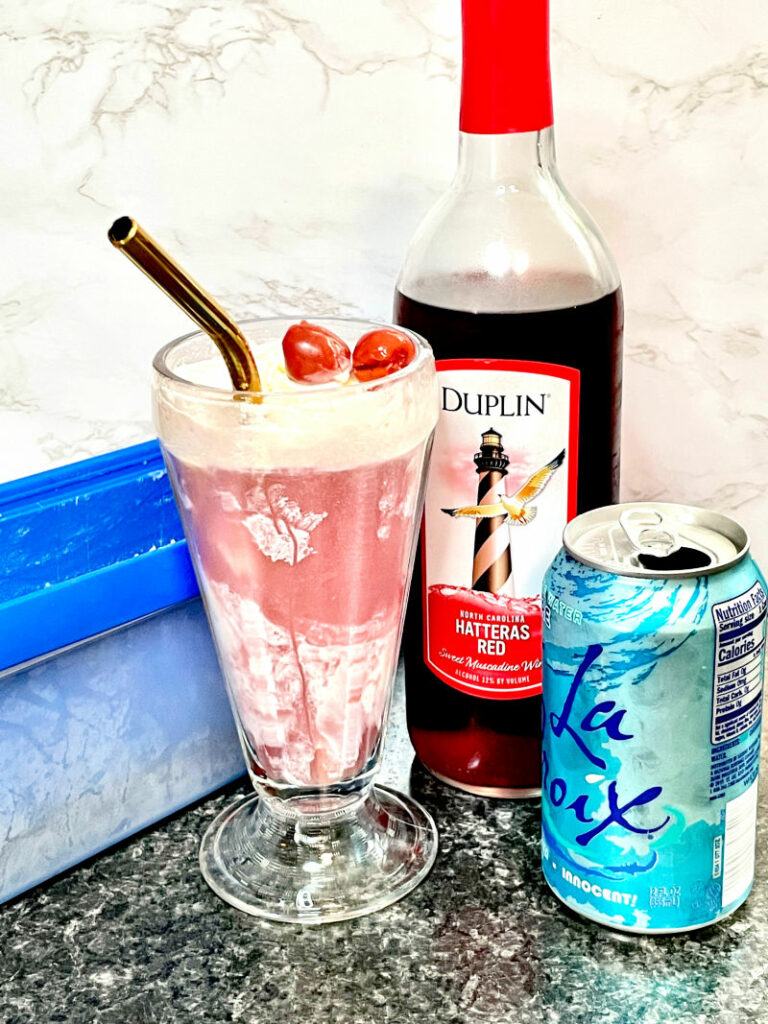 Keto Red Wine Ice Cream Float only 3 ingredients
