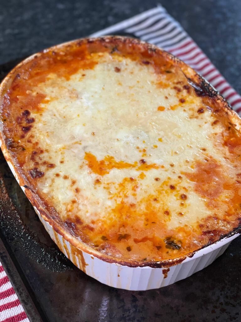 Keto Lasagna with Palmini Noodles baked