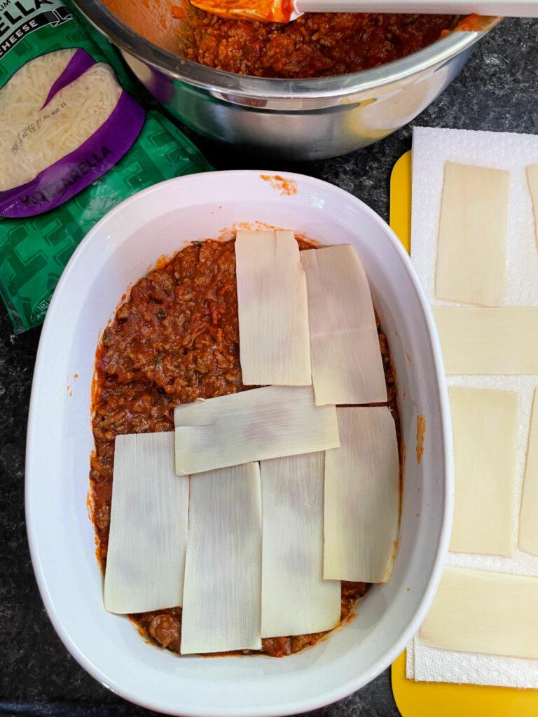 Keto Lasagna with Palmini Noodles layers
