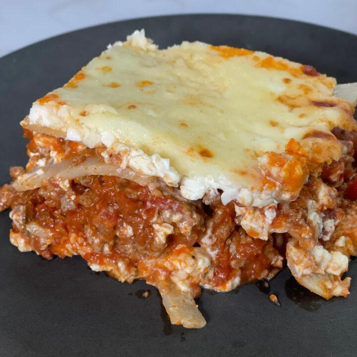 Keto Lasagna with Palmini Noodles recipe card