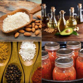 Keto Pantry Staples oil seasoning tomatoes and flour