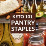 Keto Pantry Staples flour, oil, seasoning, and tomatoes