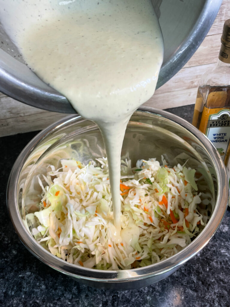 Sugar Free Coleslaw pouring dressing