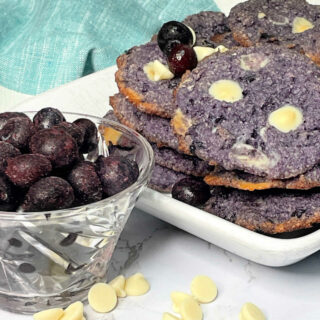 Keto Blueberry White Chocolate Chip Cookies FEATURE
