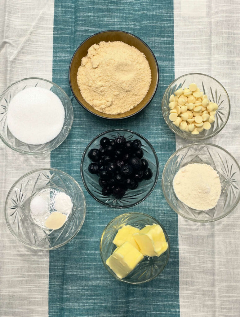 Keto Blueberry White Chocolate Chip Cookies ingredients