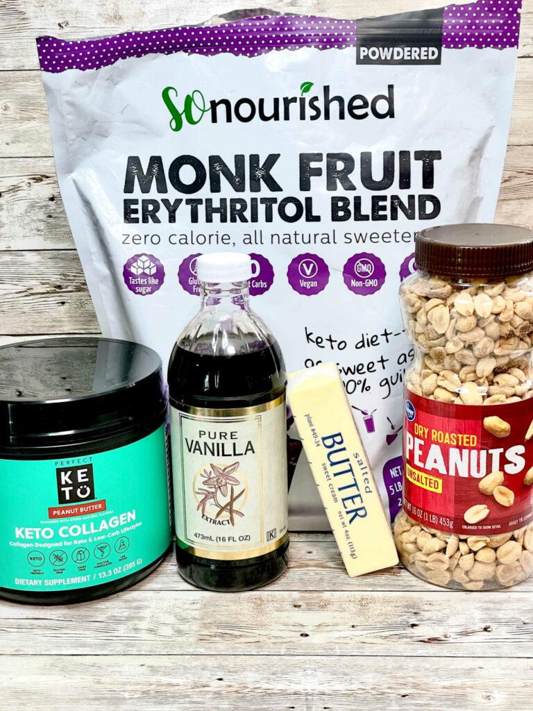 Keto Peanut Butter Fudge ingredients