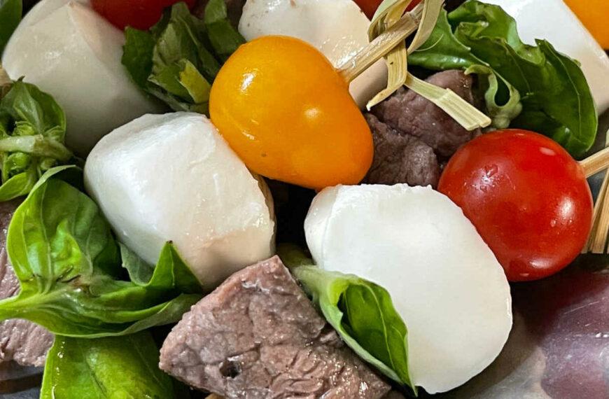 Keto Balsamic Caprese Steak Bites