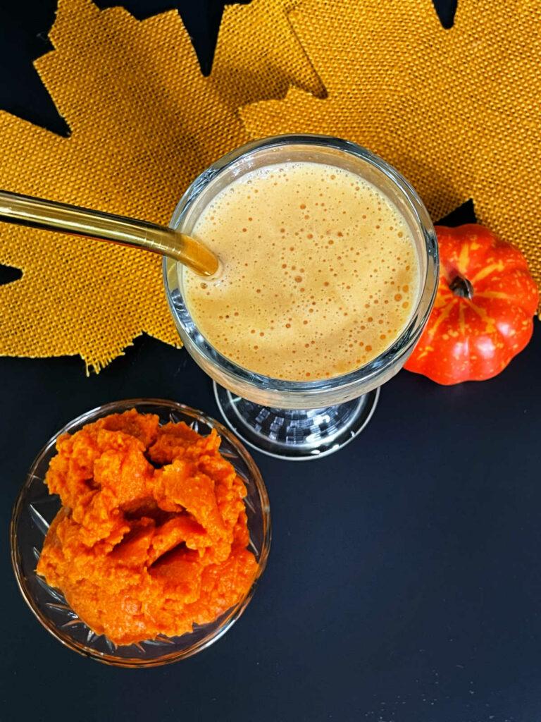 Keto Pumpkin Spice Protein Smoothie top down view