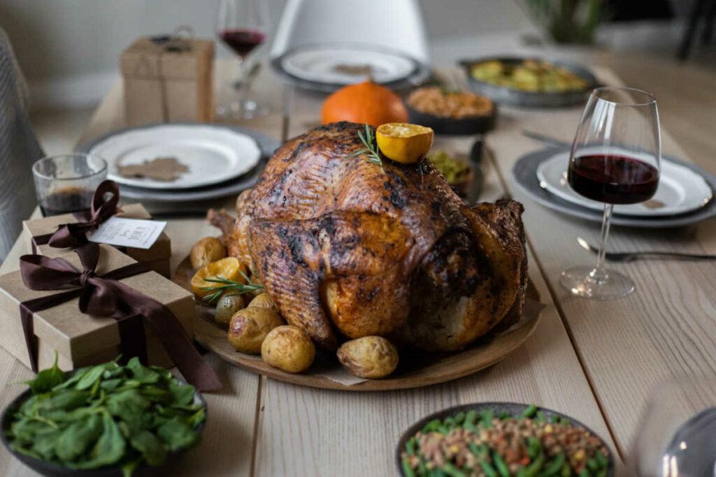 Keto Thanksgiving Dinner Turkey On Table