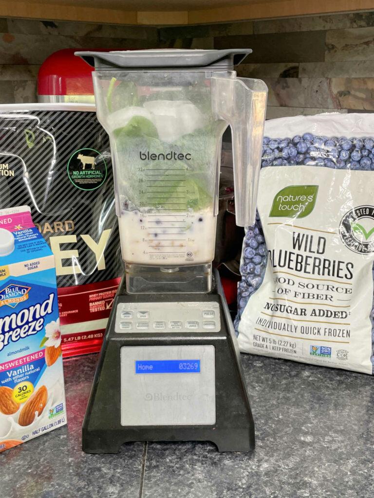 Keto Blueberry Protein Smoothie in blender